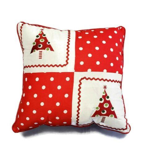 "Pillow Perfect Christmas Trees 16"" Throw Pillow Red White 16"