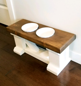 Small Farmhouse Style Dog Dish Stand