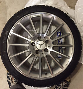 "GENUINE Mercedes Benz AMG 18"", 16-spoke wheels on snow tires Kitchener / Waterloo Kitchener Area image 2"