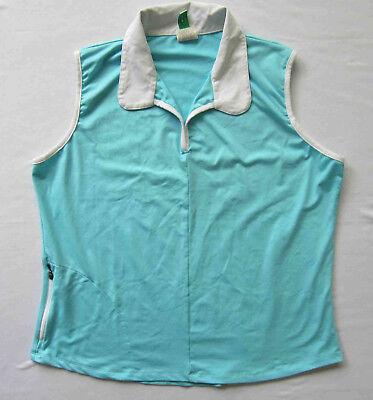 Women's fitness / Golf top Stretch wicking knit fabric Aqua w/ zip pocket XL for sale  La Jolla