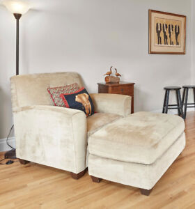 Oversized upholstered chair and ottoman