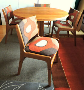 Mid Century Modern Danish Solid Teak Dining Table and 4 Chairs