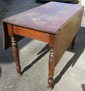 c1890s folding sides Solid Wood Country Parlor Table ANTIQUE