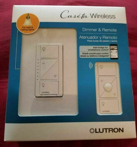 Lutron Caseta Wireless Smart Wall Lamp Dimmer Switch + Remote  (P-PKG1W-WH-R)NEW