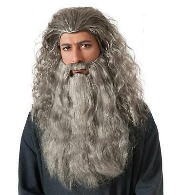 Old Wizard Halloween Costume (GANDALF DELUXE Wig Beard set the HOBBIT LOTR Wizard costume old man Adult)