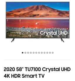 Samsung 58TU7100 4k smart t.v. brand new boxed call 07550365232