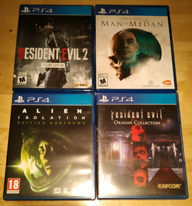 Resident Evil Origins / RE 2 / Alien / Man of Medan PS4 as new