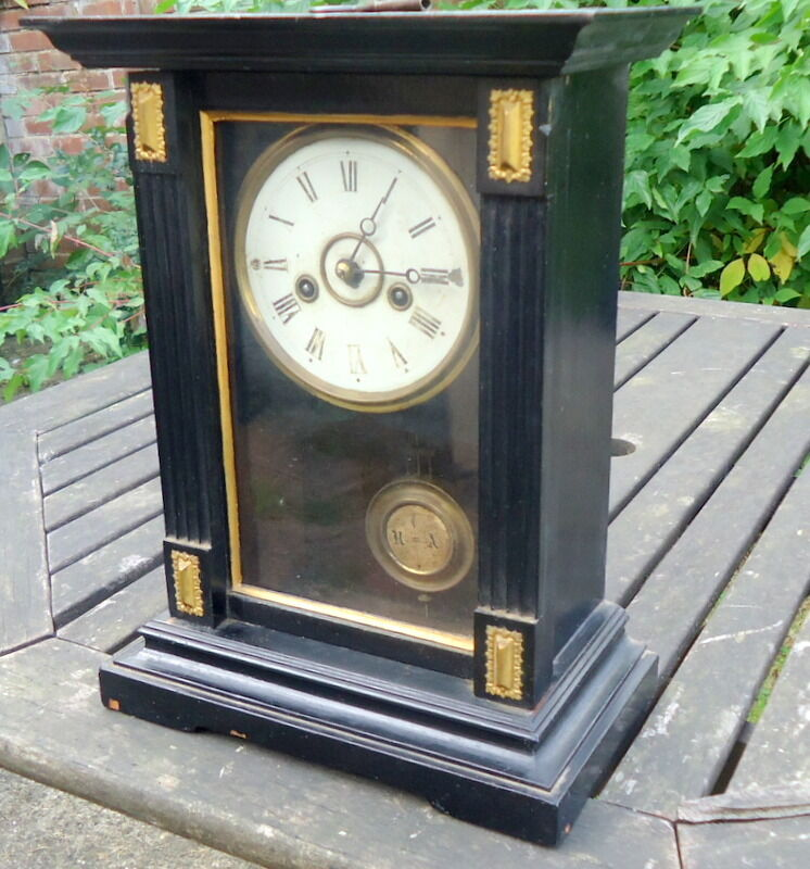 BLACK FOREST. Chiming Mantel Clock Inlaid with Gold Meddalions. Works with Key