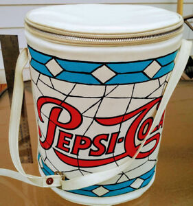 Vintage Rare 1960s PEPSI COLA Soft Sided Round Cooler with Handl