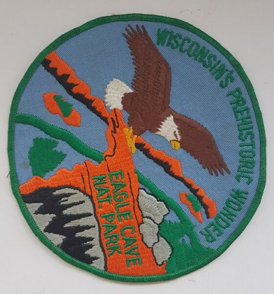 Wisconsin's Prehistoric Wonder, Eagle Cave National Park, patches, badges, Collectibles, 6.2 inches