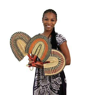 "African Fan: Burkina Faso Hand Woven Fan (16"" Long)"
