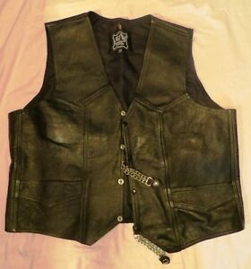 Mens custom leather motorcycle vest and chaps