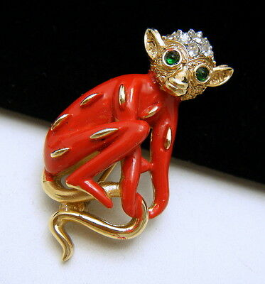 Crown Trifari Figural Monkey Pin Pave Rhinestones Red Enamel Gold Tone Green Eye on Lookza
