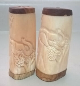 Vintage Elephant Carving in Bone with Wood Base Salt and Pepper