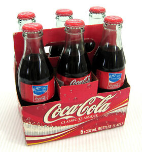 6-Pack Coca Cola 8 Oz Full Glass Bottles Sealed Caps 2004 Athens