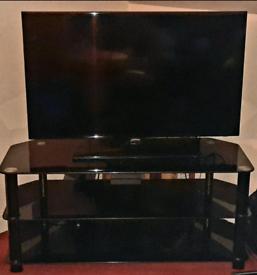 "Black Glass TV Stand Table + TV Samsung 43"" - BUNDLE"