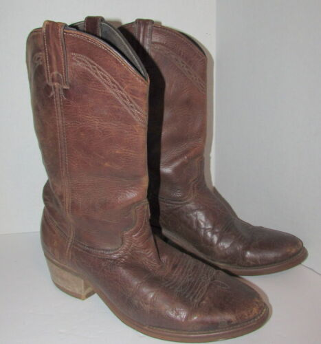 VIBRAM, Brown, Distressed, Leather, Western, Cowboy, Boots, Mens, Size, 10, Oil, Resist