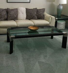 Glass coffee table, end tables and TV stand