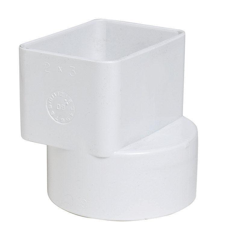 Plastic Trends  2 in. Dia. x 3 in. Dia. PVC  Flush Downspout Adapter, P1923