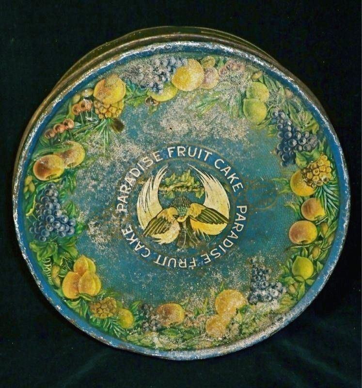 Antique Fruit Cake Tin Paradise  Ward Baking Co Round Turquoise Blue