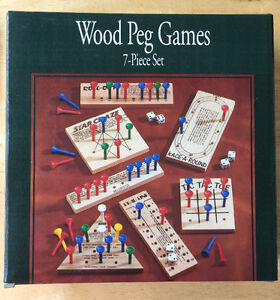 WOOD PEG GAMES. Board Games.  Solid Wood Brain Teasers