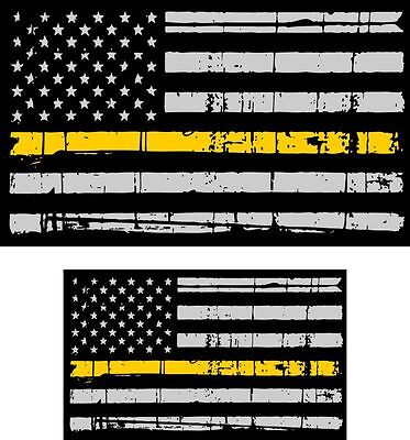Tattered Police & Fire Thin YELLOW Line reflective American Flag Decal x 2