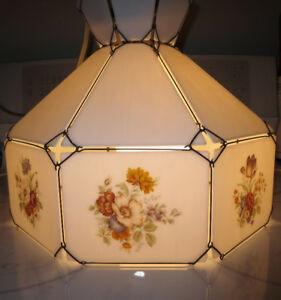 UNIQUE VINTAGE STAINED GLASS HANGING LAMP   $75.00