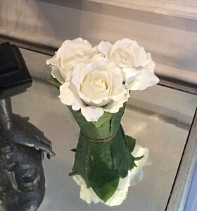 White Roses in Green Leaf Vase