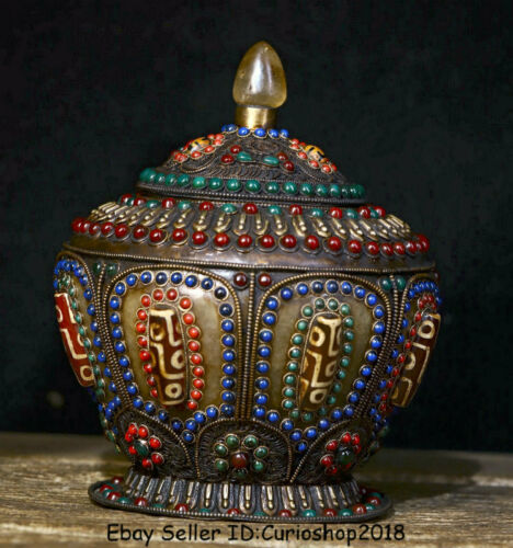 "8"" Old Tibet Nepal Crystal Silver Wire Hand Inlay Gem Lids Pot Jar Crock Bowl"