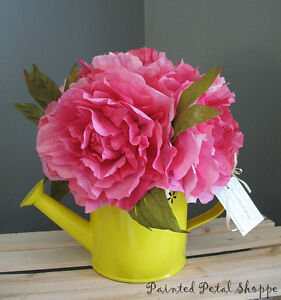 Coffee Filter Peony in Tin Watering Can/Floral Arrangement