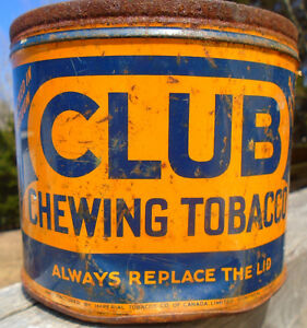 VINTAGE 1940's CLUB CHEWING TOBACCO (2 LBS.) TIN