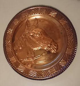 Vintage Copper Plate with Mustang Horse Head Wall Hanger