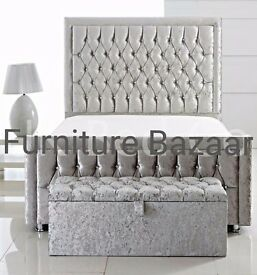 CRYSTAL VELVET DOUBLE BED AND MATTRESS