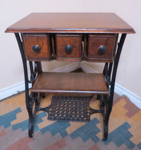 Table created from an Antique treadle sewing machine table