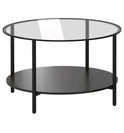 IKEA COFFEE TABLE VITTSJÖ Black Brown Glass