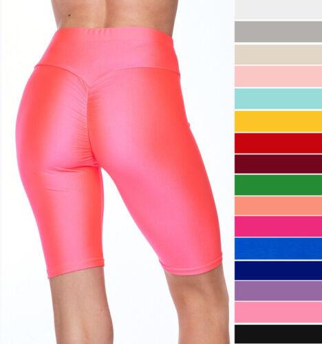LUXE Glossy High Waist Scrunch Butt Biker Bermuda Shorts Gym Workout Fitness