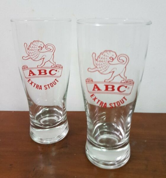 2 pieces ABC Extra Stout Beer glass 400 ml