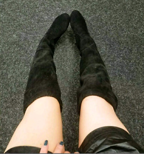 BRAND NEW! Black Thigh High Boots - Size 6.5\7 - $55