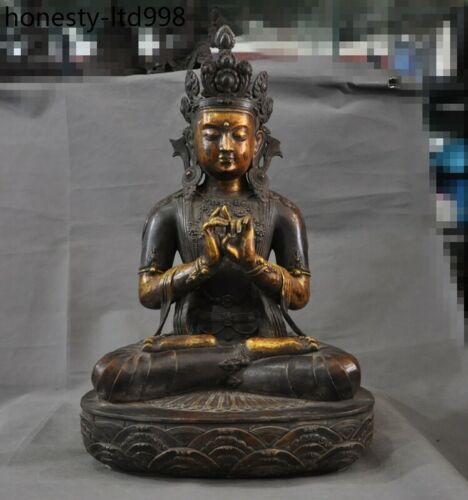 Tibet Buddhism Purple bronze gild white tara Kwan-yin Bodhisattva Buddha Statue