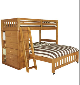 New in Box Twin Over Full Bunk Bed w Bookcase/Drawers