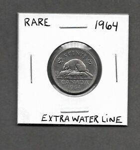 ** 1964 Extra Waterline 5cent Canadian (RARE) **