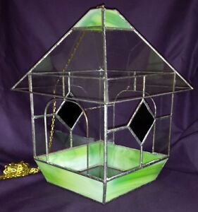 LARGE HANGING GREEN STAINED GLASS HOUSE AIR PLANT TERRARIUM VTG