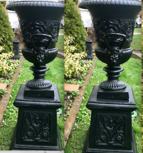 Antique CAST IRON URNS / Outdoor Planters - Garden Lion Bench