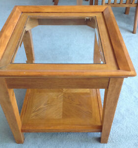 Oak & Glass End Tables