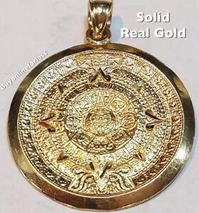 "Aztec GOLD 1.35"" 14k SOLID REAL sun CALENDAR mayan Yellow Pendant charm"