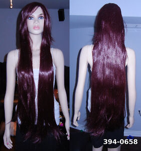 NEW: 100cm Long Straight Deluxe Burgandy Wine Cosplay Wig