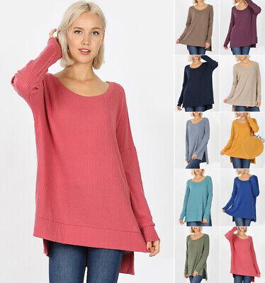 Womens Oversized Tunic Sweater Soft Waffle Knit Long Sleeve Loose Top Round Neck Waffle Knit Sweater