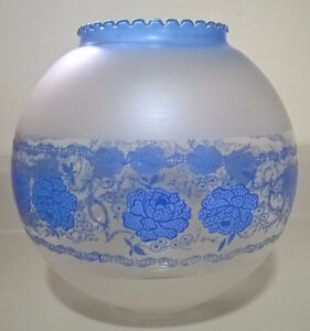Vintage Glass Hurricane Round Globe Shade w/ Blue Flowers