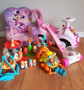 Toys, princess ride on toy, Minnie mouse chair, etc.