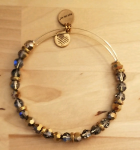 Alex and Ani blue and gold beaded bangle bracelet
